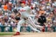 Jul 28, 2013; Detroit, MI, USA; Philadelphia Phillies relief pitcher Jacob Diekman (63) pitches in the sixth inning against the Detroit Tigers at Comerica Park. Mandatory Credit: Rick Osentoski-USA TODAY Sports