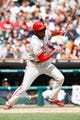 Jul 28, 2013; Detroit, MI, USA; Philadelphia Phillies center fielder John Mayberry Jr. (15) at bat against the Detroit Tigers at Comerica Park. Mandatory Credit: Rick Osentoski-USA TODAY Sports