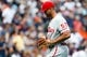 Jul 28, 2013; Detroit, MI, USA; Philadelphia Phillies relief pitcher Luis Garcia (57) walks off the field after being relieved in the sixth inning against the Detroit Tigers at Comerica Park. Mandatory Credit: Rick Osentoski-USA TODAY Sports