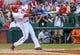 Jul 30, 2013; Arlington, TX, USA; Texas Rangers right fielder Nelson Cruz (17) bats during the game against the Los Angeles Angels at Rangers Ballpark in Arlington. Texas won 14-11.  Mandatory Credit: Kevin Jairaj-USA TODAY Sports