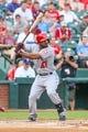 Jul 30, 2013; Arlington, TX, USA; Los Angeles Angels second baseman Howie Kendrick (47) bats during the game against the Texas Rangers at Rangers Ballpark in Arlington. Texas won 14-11.  Mandatory Credit: Kevin Jairaj-USA TODAY Sports