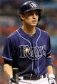 Jul 11, 2013; St. Petersburg, FL, USA; Tampa Bay Rays left fielder Sean Rodriguez (1) against the Minnesota Twins at Tropicana Field. Tampa Bay Rays defeated the Minnesota Twins 4-3. Mandatory Credit: Kim Klement-USA TODAY Sports