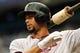 Jul 11, 2013; St. Petersburg, FL, USA; Minnesota Twins center fielder Aaron Hicks (32) on deck to bat against the Tampa Bay Rays at Tropicana Field. Mandatory Credit: Kim Klement-USA TODAY Sports