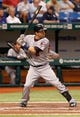 Jul 11, 2013; St. Petersburg, FL, USA; Minnesota Twins second baseman Brian Dozier (2) at bat against the Tampa Bay Rays at Tropicana Field. Mandatory Credit: Kim Klement-USA TODAY Sports