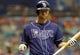Jul 11, 2013; St. Petersburg, FL, USA; Tampa Bay Rays second baseman Ben Zobrist (18) at bat against the Minnesota Twins at Tropicana Field. Tampa Bay Rays defeated the Minnesota Twins 4-3. Mandatory Credit: Kim Klement-USA TODAY Sports