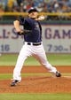 Jul 11, 2013; St. Petersburg, FL, USA; Tampa Bay Rays starting pitcher Matt Moore (55) throws a pitch against the Minnesota Twins at Tropicana Field. Tampa Bay Rays defeated the Minnesota Twins 4-3. Mandatory Credit: Kim Klement-USA TODAY Sports