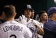 Jul 30, 2013; St. Petersburg, FL, USA; Tampa Bay Rays right fielder Matt Joyce (20) is congratulated by teammates after he scored during the sixth inning against the Tampa Bay Rays at Tropicana Field. Mandatory Credit: Kim Klement-USA TODAY Sports