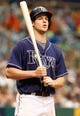 Jul 11, 2013; St. Petersburg, FL, USA; Tampa Bay Rays right fielder Wil Myers (9) at bat against the Minnesota Twins at Tropicana Field. Tampa Bay Rays defeated the Minnesota Twins 4-3. Mandatory Credit: Kim Klement-USA TODAY Sports