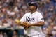 Jul 30, 2013; St. Petersburg, FL, USA; Tampa Bay Rays starting pitcher Roberto Hernandez (40) walks back to the dugout after he pitched the fifth inning against the Arizona Diamondbacks at Tropicana Field. Mandatory Credit: Kim Klement-USA TODAY Sports