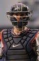 Jul 10, 2013; St. Petersburg, FL, USA; Minnesota Twins catcher Ryan Doumit (9) at Tropicana Field. Mandatory Credit: Kim Klement-USA TODAY Sports