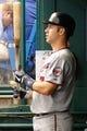 Jul 10, 2013; St. Petersburg, FL, USA; Minnesota Twins catcher Joe Mauer (7) against the Tampa Bay Rays at Tropicana Field. Mandatory Credit: Kim Klement-USA TODAY Sports