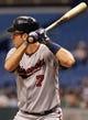 Jul 10, 2013; St. Petersburg, FL, USA; Minnesota Twins catcher Joe Mauer (7) at bat against the Tampa Bay Rays at Tropicana Field. Mandatory Credit: Kim Klement-USA TODAY Sports