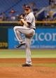 Jul 10, 2013; St. Petersburg, FL, USA; Minnesota Twins starting pitcher Kevin Correia (30) against the Tampa Bay Rays at Tropicana Field. Mandatory Credit: Kim Klement-USA TODAY Sports
