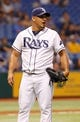 Jul 10, 2013; St. Petersburg, FL, USA; Tampa Bay Rays relief pitcher Joel Peralta (62) against the Minnesota Twins at Tropicana Field. Tampa Bay Rays defeated the Minnesota Twins 4-3 in thirteen inning. Mandatory Credit: Kim Klement-USA TODAY Sports