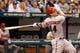 Jul 30, 2013; St. Petersburg, FL, USA; Arizona Diamondbacks first baseman Paul Goldschmidt (44) looks up at his fly ball against the Tampa Bay Rays at Tropicana Field. Mandatory Credit: Kim Klement-USA TODAY Sports