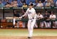 Jul 10, 2013; St. Petersburg, FL, USA; Tampa Bay Rays catcher Jose Lobaton (59) at bat against the Minnesota Twins at Tropicana Field. Tampa Bay Rays defeated the Minnesota Twins 4-3 in thirteen inning. Mandatory Credit: Kim Klement-USA TODAY Sports