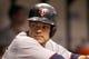 Jul 10, 2013; St. Petersburg, FL, USA; Minnesota Twins third baseman Jamey Carroll (8) against the Tampa Bay Rays at Tropicana Field. Mandatory Credit: Kim Klement-USA TODAY Sports