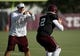 Aug 7, 2013; College Station, TX, USA; Texas A&M Aggies quarterback Johnny Manziel (2) works with coach Jake Spavita during practices at Coolidge Field. Mandatory Credit: Troy Taormina-USA TODAY Sports