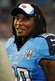 Aug 8, 2013; Nashville, TN, USA; Tennessee Titans running back Chris Johnson (28) watches his team play against the Washington Redskins during the second half at LP Field. The Redskins beat the Titans 22-21. Mandatory Credit: Don McPeak-USA TODAY Sports