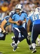Aug 8, 2013; Nashville, TN, USA; Tennessee Titans quarterback Ryan Fitzpatrick (4) takes the snap from scrimmage against the Washington Redskins during the second half at LP Field. The Redskins beat the Titans 22-21. Mandatory Credit: Don McPeak-USA TODAY Sports