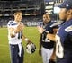 Aug 8, 2013; San Diego, CA, USA; Seattle Seahawks quarterback Brady Quinn (10)  shakes hands with San Diego Chargers linebacker Manti Te'o (50) after a win at Qualcomm Stadium. The Seahawks won 31-10. Mandatory Credit: Christopher Hanewinckel-USA TODAY Sports