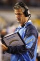 Aug 8, 2013; San Diego, CA, USA; San Diego Chargers quarterback coach Frank Reich reviews the playbook during the second half against the Seattle Seahawks at Qualcomm Stadium. Mandatory Credit: Jody Gomez-USA TODAY Sports