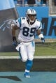 Aug 9, 2013; Charlotte, NC, USA; Carolina Panthers wide receiver Steve Smith (89) runs on the field prior to the start of the game against the Chicago Bears. The Panthers defeated the Bears 24-17. Mandatory Credit: Jeremy Brevard-USA TODAY Sports