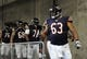 Aug 9, 2013; Charlotte, NC, USA; Chicago Bears center/guard Roberto Garza (63) leads his team out before the game against the Carolina Panthers at Bank of America Stadium.  CArolina wins 24-17.  Mandatory Credit: Sam Sharpe-USA TODAY Sports
