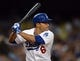 Aug 11, 2013; Los Angeles, CA, USA;   Los Angeles Dodgers third baseman Jerry Hairston Jr. (6) at bat in the eighth inning of the game against the Tampa Bay Rays at Dodger Stadium. Mandatory Credit: Jayne Kamin-Oncea-USA TODAY Sports
