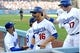 Aug 11, 2013; Los Angeles, CA, USA;  Los Angeles Dodgers right fielder Andre Ethier (16) and  catcher A.J. Ellis (17) enter the dugout after scoring runs in the third inning against the Tampa Bay Rays at Dodger Stadium. Mandatory Credit: Jayne Kamin-Oncea-USA TODAY Sports