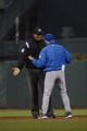 July 9, 2013; San Francisco, CA, USA; MLB umpire CB Bucknor (left) argues with New York Mets manager Terry Collins (10, right) during the fifth inning against the San Francisco Giants at AT&T Park. The Mets defeated the Giants 10-6. Mandatory Credit: Kyle Terada-USA TODAY Sports
