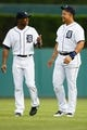 Jul 30, 2013; Detroit, MI, USA; Detroit Tigers center fielder Austin Jackson (14) and third baseman Miguel Cabrera (24) before the game against the Washington Nationals at Comerica Park. Mandatory Credit: Rick Osentoski-USA TODAY Sports