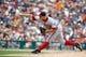 Jul 31, 2013; Detroit, MI, USA; Washington Nationals relief pitcher Craig Stammen (35) pitches against the Detroit Tigers at Comerica Park. Mandatory Credit: Rick Osentoski-USA TODAY Sports