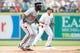 Jul 31, 2013; Detroit, MI, USA; Washington Nationals center fielder Denard Span (2) leads off second base against the Detroit Tigers at Comerica Park. Mandatory Credit: Rick Osentoski-USA TODAY Sports
