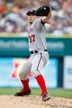 Jul 30, 2013; Detroit, MI, USA; Washington Nationals starting pitcher Stephen Strasburg (37) pitches in the second inning against the Detroit Tigers at Comerica Park. Mandatory Credit: Rick Osentoski-USA TODAY Sports