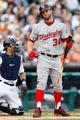 Jul 30, 2013; Detroit, MI, USA; Washington Nationals left fielder Bryce Harper (34) reacts at bat against the Detroit Tigers at Comerica Park. Mandatory Credit: Rick Osentoski-USA TODAY Sports