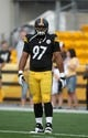 Aug 10, 2013; Pittsburgh, PA, USA; Pittsburgh Steelers defensive end Cameron Heyward (97) before the game against the New York Giants at Heinz Field. Mandatory Credit: Jason Bridge-USA TODAY Sports