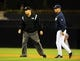 Aug 15, 2013; San Diego, CA, USA; San Diego Padres manager Bud Black (right) questions a call by second base umpire Mark Carlson (6) during the third inning against the New York Mets at Petco Park. Mandatory Credit: Christopher Hanewinckel-USA TODAY Sports