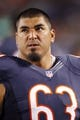 Aug 15, 2013; Chicago, IL, USA; Chicago Bears center Roberto Garza (63) during the second half against the San Diego Chargers at Soldier Field. Chicago won 33-28. Mandatory Credit: Dennis Wierzbicki-USA TODAY Sports