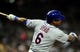 Aug 15, 2013; San Diego, CA, USA; New York Mets right fielder Marlon Byrd (6) hits a two-run double during the eighth inning against the San Diego Padres at Petco Park. Mandatory Credit: Christopher Hanewinckel-USA TODAY Sports