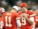 Aug 9, 2013; New Orleans, LA, USA; Kansas City Chiefs quarterbacks Alex Smith (11) and Tyler Bray (9) talk in the third quarter of their game against the New Orleans Saints at the Mercedes-Benz Superdome. Mandatory Credit: Chuck Cook-USA TODAY Sports