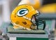 Aug 9, 2013; Green Bay, WI, USA; A Green Bay Packers helmet during the game against the Arizona Cardinals at Lambeau Field.  The Cardinals won 17-0.  Mandatory Credit: Jeff Hanisch-USA TODAY Sports