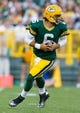 Aug 9, 2013; Green Bay, WI, USA; Green Bay Packers quarterback Graham Harrell (6) during the game against the Arizona Cardinals at Lambeau Field.  The Cardinals won 17-0.  Mandatory Credit: Jeff Hanisch-USA TODAY Sports