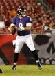Aug 8, 2013; Tampa, FL, USA; Baltimore Ravens quarterback Caleb Hanie (8) throws the ball against the Tampa Bay Buccaneers during the second half at Raymond James Stadium. Mandatory Credit: Kim Klement-USA TODAY Sports