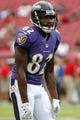 Aug 8, 2013; Tampa, FL, USA; Baltimore Ravens wide receiver Torrey Smith (82) prior to the game against the Tampa Bay Buccaneers at Raymond James Stadium. Mandatory Credit: Kim Klement-USA TODAY Sports