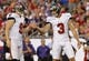 Aug 8, 2013; Tampa, FL, USA; Tampa Bay Buccaneers kicker Derek Dimke (3) is congratulated by punter Michael Koenen (9) after he made a field goal during the first quarter against the Baltimore Ravens at Raymond James Stadium. Mandatory Credit: Kim Klement-USA TODAY Sports