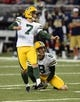 Aug 17, 2013; St. Louis, MO, USA; Green Bay Packers kicker Giorgio Tavecchio (7) kicks a 38 yard field goal against the St. Louis Rams during the first half at the Edward Jones Dome. Mandatory Credit: Jeff Curry-USA TODAY Sports
