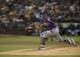 Aug 17, 2013; Oakland, CA, USA; Multiple exposure photo of Cleveland Indians starting pitcher Ubaldo Jimenez (30) pitching the ball against the Oakland Athletics during the sixth inning at O.co Coliseum. Mandatory Credit: Kelley L Cox-USA TODAY Sports
