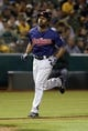 Aug 17, 2013; Oakland, CA, USA; Cleveland Indians center fielder Michael Bourn (24) rounds the bases on a solo home run against the Oakland Athletics during the seventh inning at O.co Coliseum. Mandatory Credit: Kelley L Cox-USA TODAY Sports