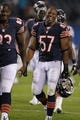 Aug 15, 2013; Chicago, IL, USA; Chicago Bears inside linebacker Jon Bostic (57) after a game against the San Diego Chargers at Soldier Field. Chicago won 33-28. Mandatory Credit: Dennis Wierzbicki-USA TODAY Sports